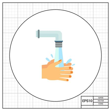 rinsing: Hands being rinsed with water under tap. Clean, wet, habit. Washing hands concept. Can be used for topics like hygiene, health, healthcare.