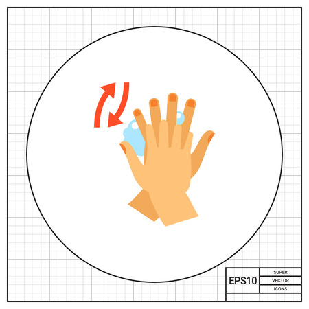 habit: Hands rubbing between fingers. Clean, soap, habit. Washing hands concept. Can be used for topics like hygiene, health, healthcare.