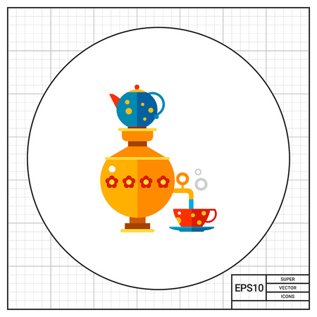 ukrainian ethnicity: Russian samovar pouring water in cup with teapot on top. Souvenir, boiling, vintage. Tee concept. Can be used for topics like Russia, traditions, beverages. Illustration