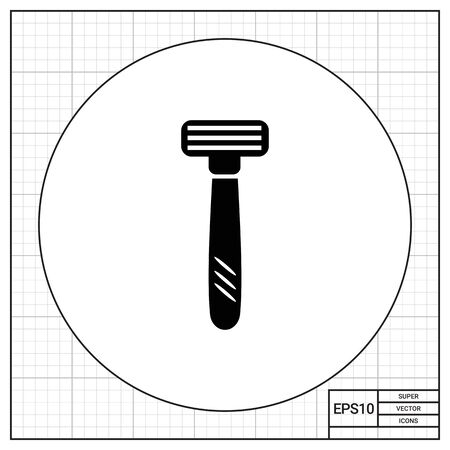 shaver: Vector icon of safety razor with tree blades