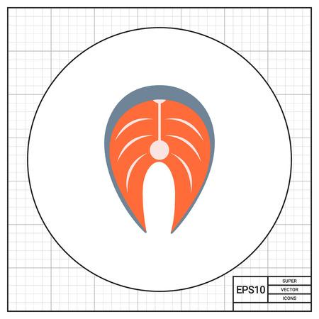 mediterranean diet: Vector icon of salmon steak, isolated on white