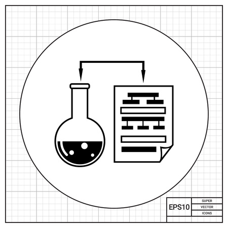 experimentation: Monochrome vector icon of laboratory experiment with chemical reaction and science data in paper sheet