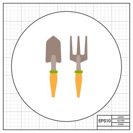 scraping: Vector icon of garden scoop and hand rake