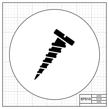 threaded: Monochrome vector icon of self-tapping screw with sharp threaded shank Illustration