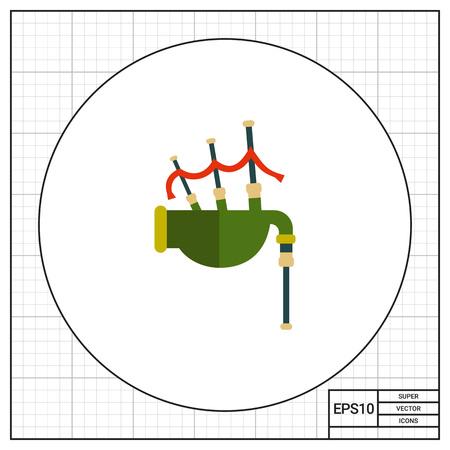 bag icon: Multicolored vector icon of traditional Scottish bagpipe