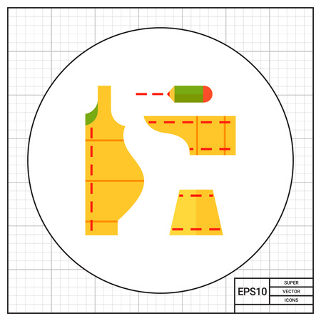 dress size: Multicolored vector icon of sewing pattern with pencil