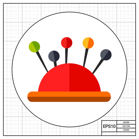 soft textile: Sewing pins in pin cushion. Soft, textile, housework. Sewing concept. Can be used for topics like fashion, sewing, tailoring.