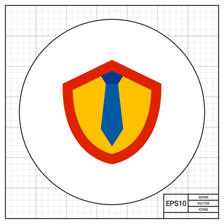legislation: Illustration of shield with tie. Lawyer, work, protection, legislation. Lawyer concept. Can be used for topics like lawyer, work, legislation, law Illustration
