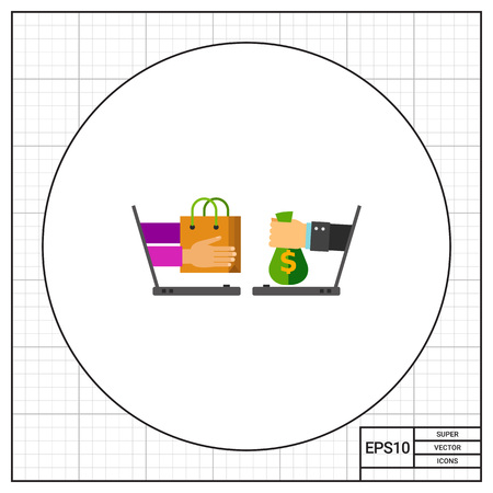eshop: Illustration of two laptops with hands holding shopping bag and money. Shopping online, technology, e-shop. E-commerce concept. Can be used for topics like Internet, e-commerce, online shopping