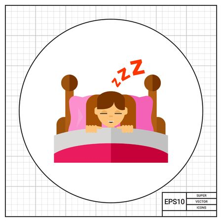 Girl sleeping in bed. Bedtime, dream, night. Children concept. Can be used for topics like childhood, health, parenting.