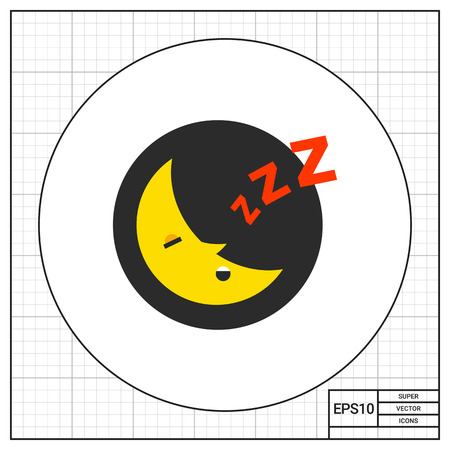 snore: Sleeping moon at night in circle with Z letters. Snore, crescent, rest. Night concept. Can be used for topics like astronomy, astrology, marketing.