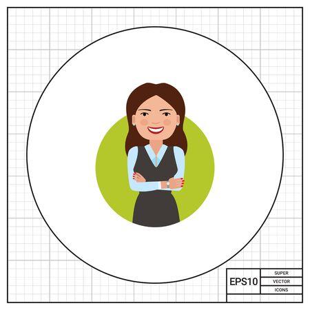 mani incrociate: personaggio femminile, ritratto di donna d'affari sorridendo con le mani incrociate