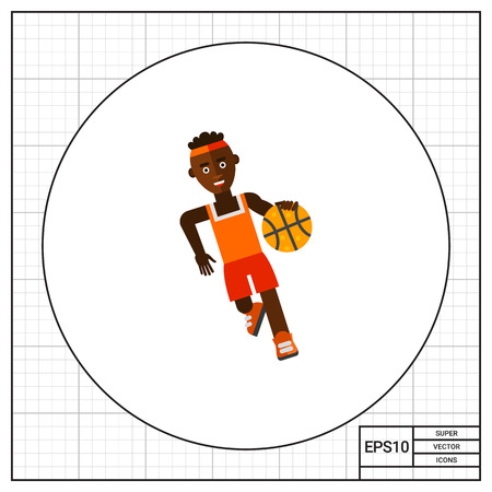 dribble: Illustration of African basketball player moving dribble. Basketball game, sport, leisure activity. Basketball game concept. Can be used for topics like sport, leisure activity