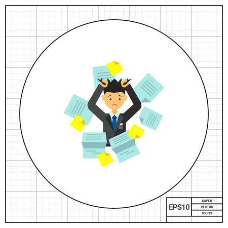 Businessman in pile of office papers tearing his hair out. Papers, stress, work. Overwork concept. Can be used for topics like business, paperwork, management.