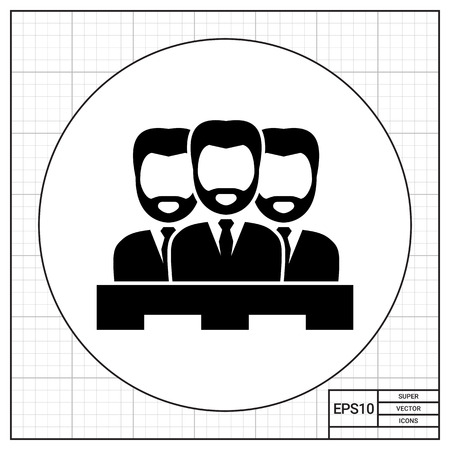 Jury of three men. Judgment, trial, duty. Court concept. Can be used for topics like jurisprudence, criminality, business. Stock Photo