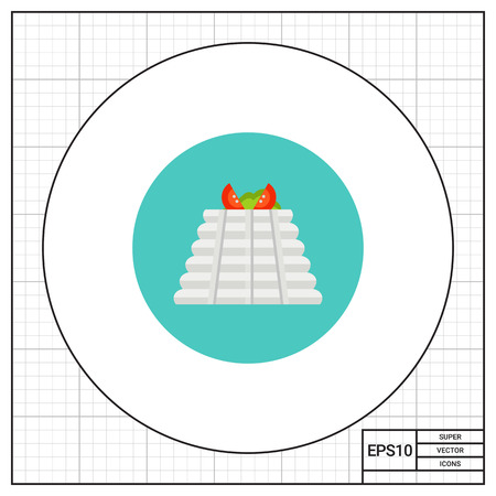 cottage cheese: Multicolored vector icon of ricotta cottage cheese with tomato and basil on top