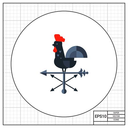 weathervane: Black rooster used as wind vane. Direction, rotation, decoration. Vane concept. Can be used for topics like weather, domestic animals, construction. Stock Photo