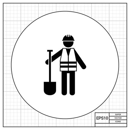 roadwork: Worker in safety vest with spade. Road, asphalt, digging. Roadwork concept. Can be used for topics like road building, construction, business. Stock Photo