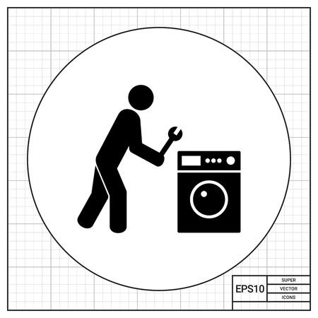 servicio domestico: Hombre que sostiene la llave y la lavadora de ropa. Doméstico, herramienta, servicio. Reparación concepto. Puede ser utilizado para temas como electrodomésticos, reparación, tecnología.