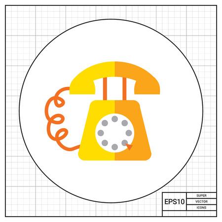 retro telephone: Icon of retro telephone with dialing disk