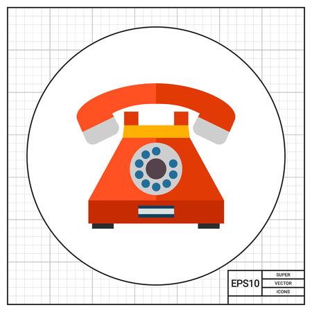 Icona di vettore multicolore di retro telefono con disco di composizione Archivio Fotografico - 68064611
