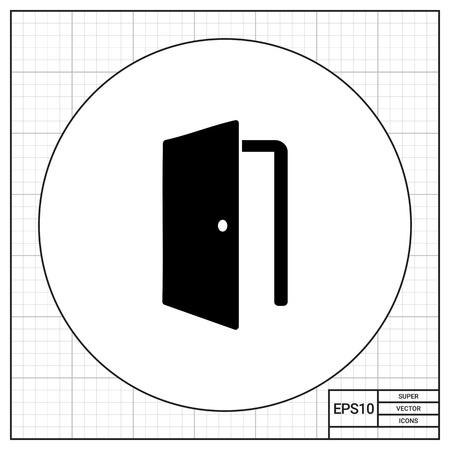 doorknob: Open door simple icon Illustration