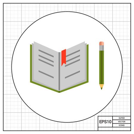 open notebook: Open notebook and pencil Illustration