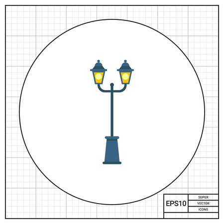Illustration of park lamp with two lights. Entertainment, lighting, decoration. Park lamp concept. Can be used for topics like lighting, park, entertainment