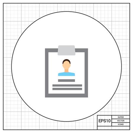 Icoon van persoonlijk dossier met foto op klembord