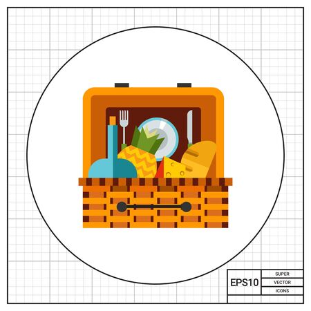 food basket: Basket with food for picnic. Lunch, nature, leisure. Picnic concept. Can be used for topics like summer, vacation, picnic. Illustration