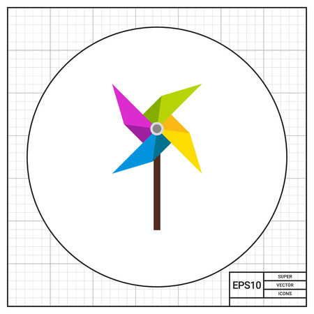 Pinwheel illustration. Toy, childhood, playing, windmill. Toy concept. Can be used for topics like toys, childhood, leisure activity