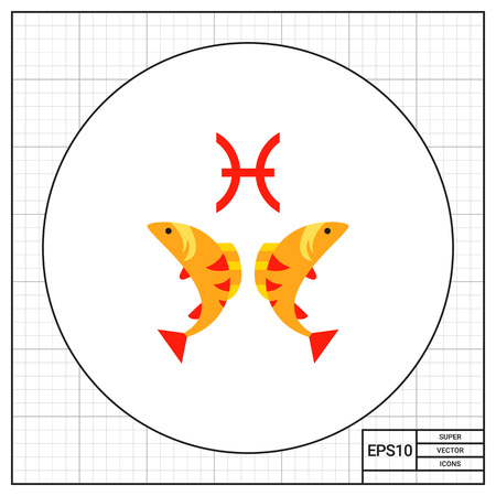 Pisces sign and two fishes. Forecast, horoscope, animal. Astrology concept. Can be used for topics like astrology, astronomy, zodiac. Illustration