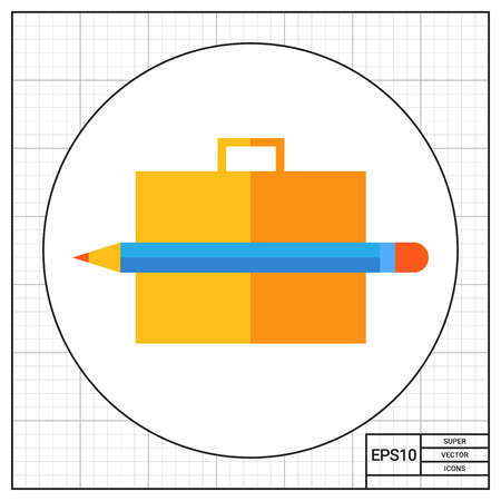 brief: Icon of brief case and pencil Illustration
