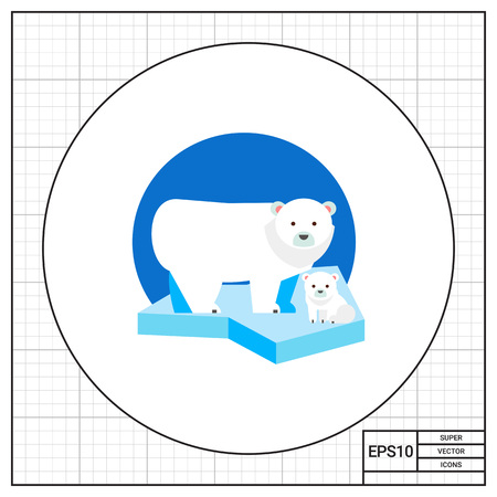 zoology: Polar bear and its cub on ice floe. Snow, cold, predator. Polar bear concept. Can be used for topics like nature, north, zoology.