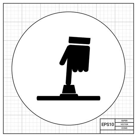 forefinger: Monochrome vector icon of human hand forefinger pressing button Illustration