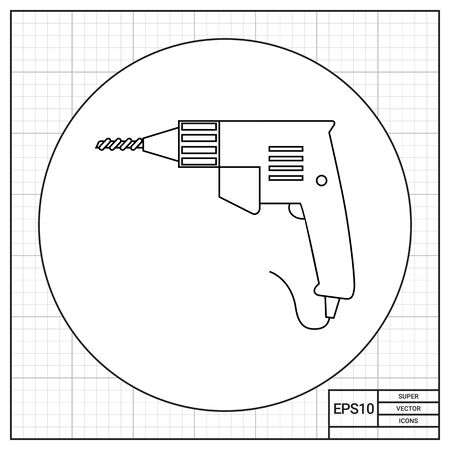 electric wire: Electric drill with handle, bore and electric wire. Professional, device, household. Drilling concept. Can be used for topics like tools, repair, construction.