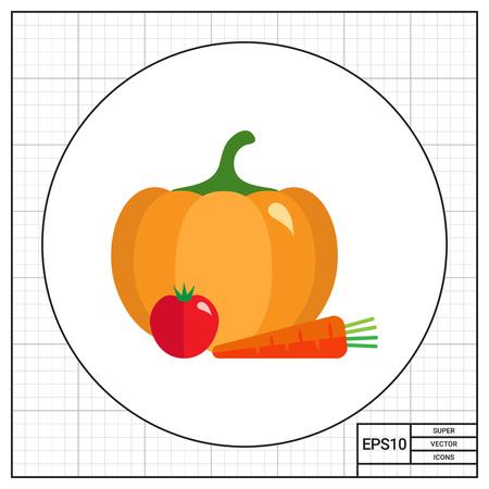 pumpkin tomato: Pumpkin, tomato and carrot