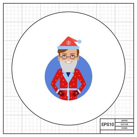 santa costume: Smiling man in Santa costume Illustration
