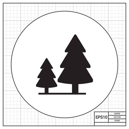softwood: Vector icon of wood sign with two fir trees