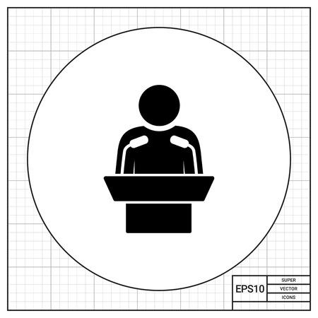 orator: Speaker. Orator, speechmaker, leader, presentation. Speaker concept. Can be used for topics like business, leadership, communication, business Illustration