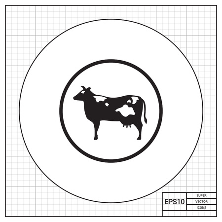 udders: Vector icon of cow silhouette in circle