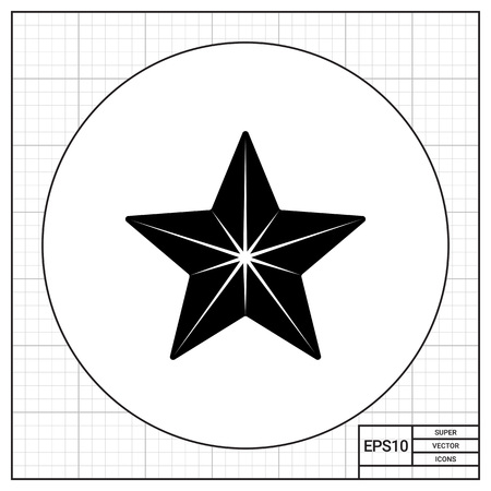 medal like: Monochrome vector icon of five-pointed star with many sides