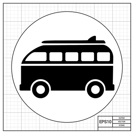 to spend the summer: Surf board retro bus. Summer, sea, coast. Surfing concept. Can be used for topics like tourism, transport, sport.