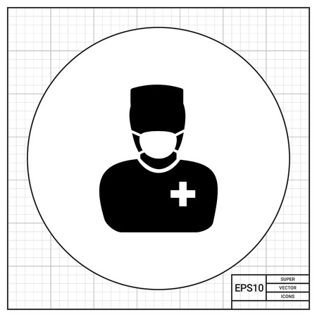 operation for: Male character in mask and surgeon uniform. Professional, operation, care. Surgery concept. Can be used for topics like medicine, healthcare, health.