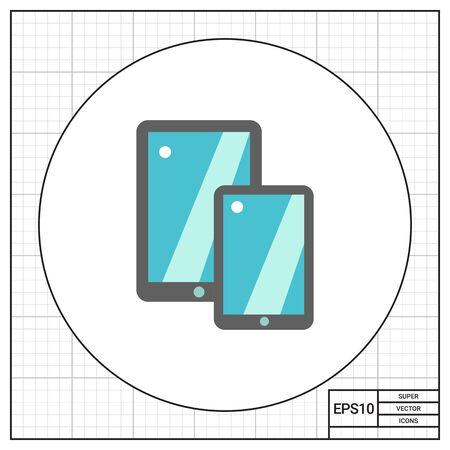Multicolored vector icon of two tablet PC, isolated on white
