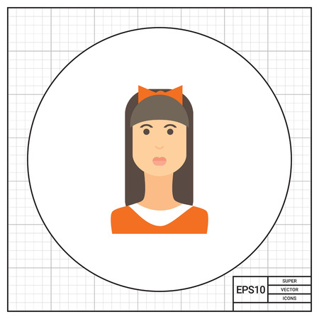 Female character icon, portrait of teenage girl with long hair, fringe and bow on head Illustration