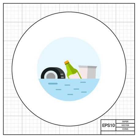 ecological problem: Trash Polluting Waters Vector Icon Illustration