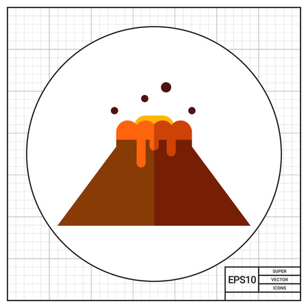 volcano mountain top exploding: Volcano flat icon Illustration