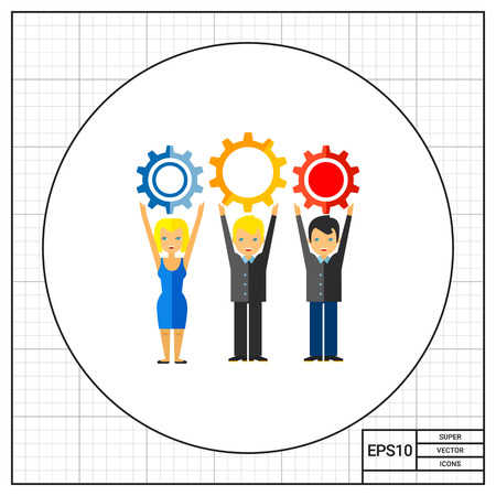 workforce: Workforce Concept Icon with Three People Illustration