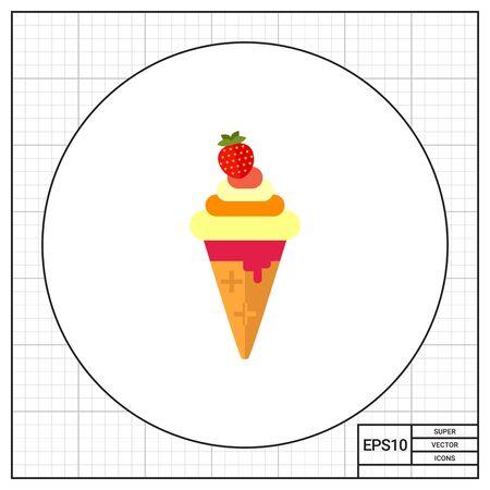ice cream soft: Soft ice cream in waffle cone